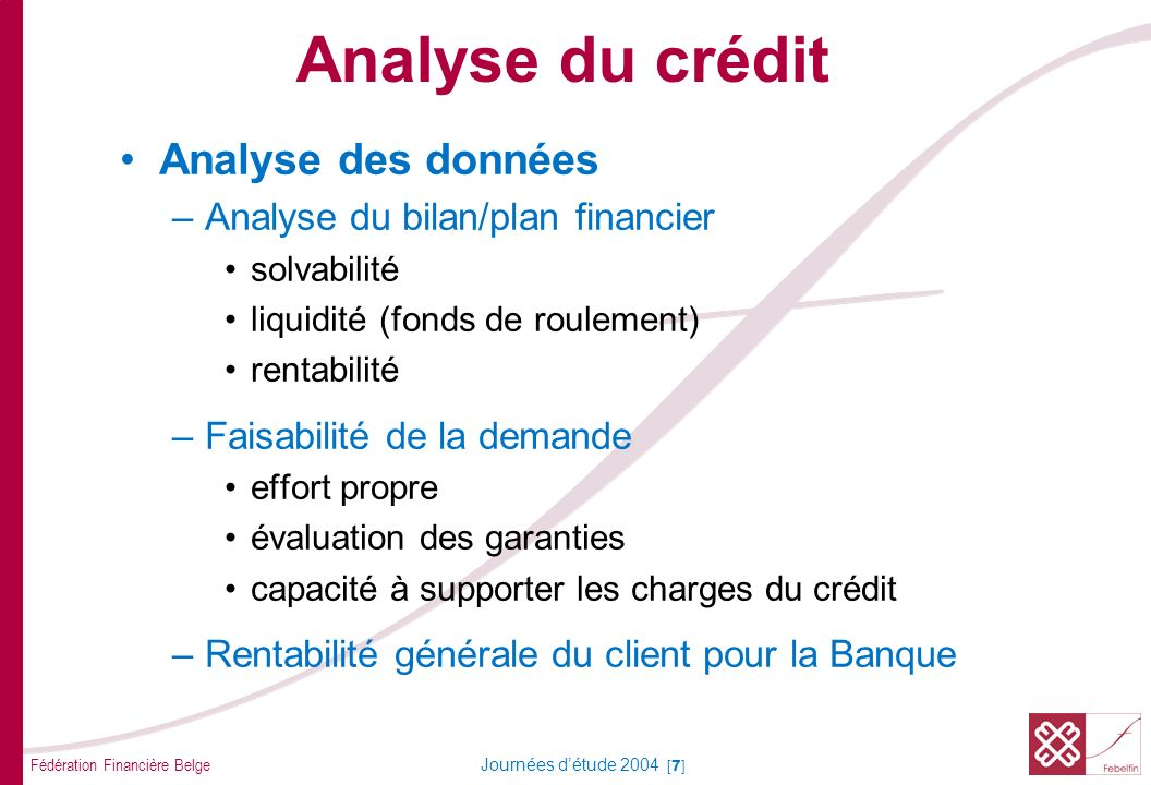Fédération Financière Belge Journées détude 2004 [7] Analyse des données –Analyse du bilan/plan financier solvabilité liquidité (fonds de roulement) rentabilité –Faisabilité de la demande effort propre évaluation des garanties capacité à supporter les charges du crédit –Rentabilité générale du client pour la Banque Analyse du crédit