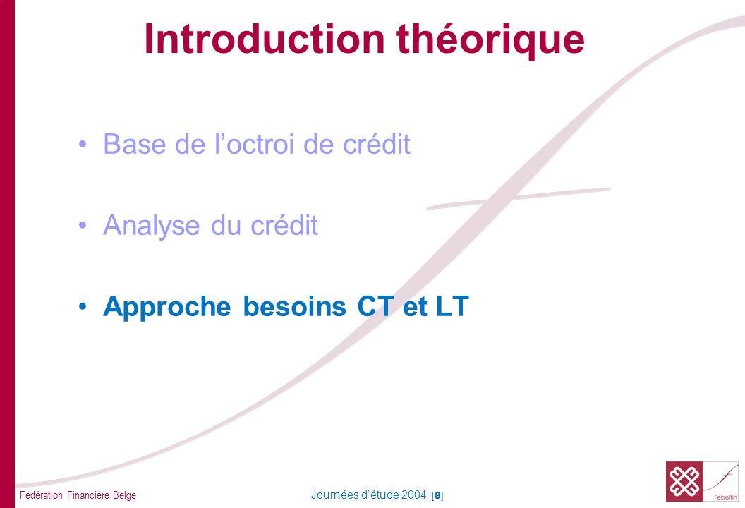 Fédération Financière Belge Journées détude 2004 [49] Crédit dinvestissement Opération à tempérament (financement) Leasing Formes de crédit long terme