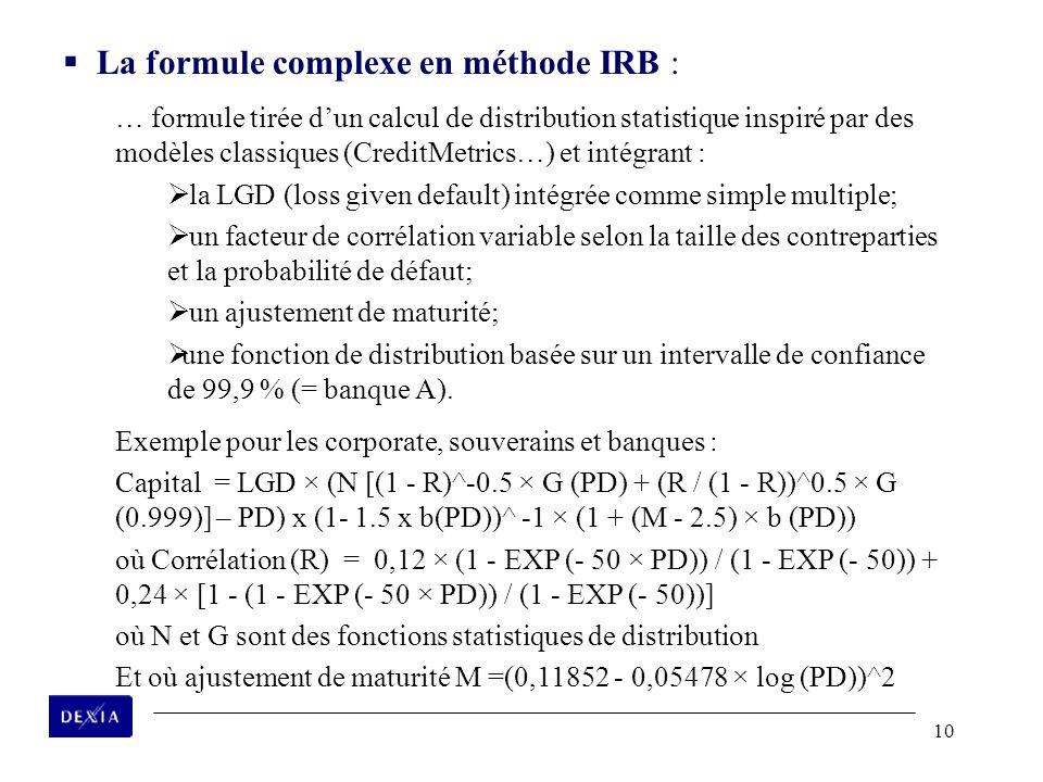 10 La formule complexe en méthode IRB : … formule tirée dun calcul de distribution statistique inspiré par des modèles classiques (CreditMetrics…) et