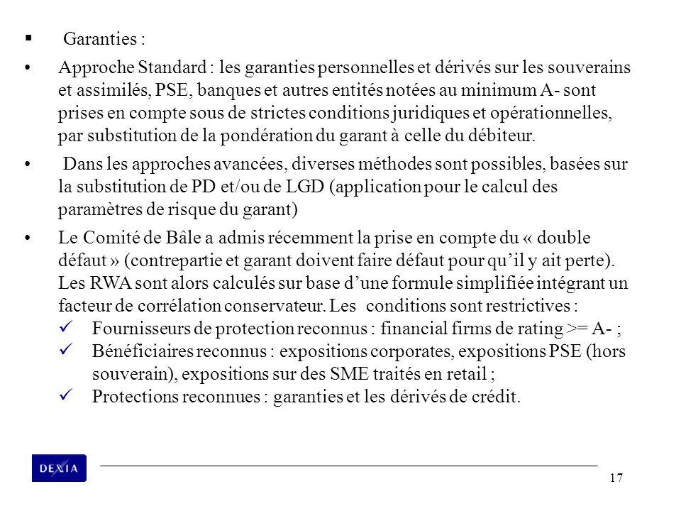 17 Garanties : Approche Standard : les garanties personnelles et dérivés sur les souverains et assimilés, PSE, banques et autres entités notées au min