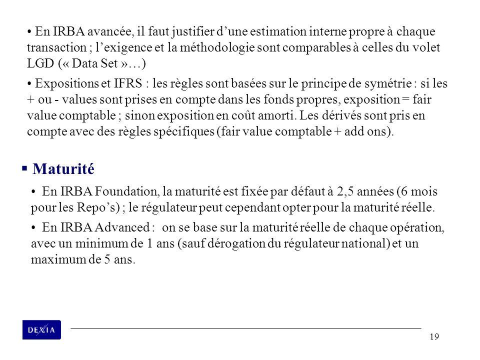 19 En IRBA avancée, il faut justifier dune estimation interne propre à chaque transaction ; lexigence et la méthodologie sont comparables à celles du