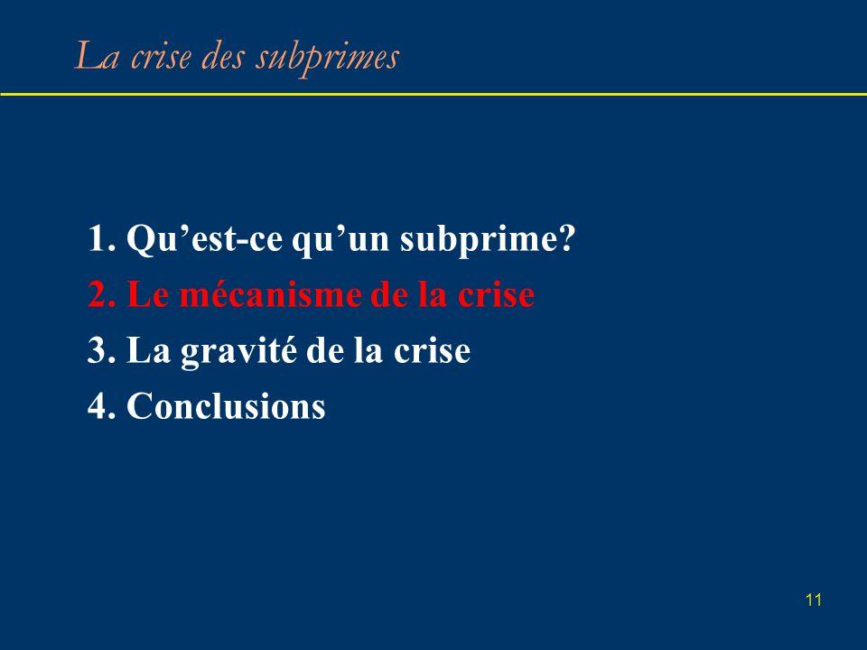 11 La crise des subprimes 1. Quest-ce quun subprime? 2. Le mécanisme de la crise 3. La gravité de la crise 4. Conclusions