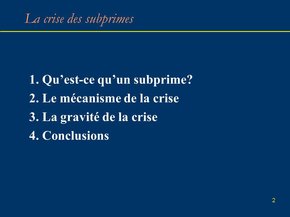 2 La crise des subprimes 1. Quest-ce quun subprime? 2. Le mécanisme de la crise 3. La gravité de la crise 4. Conclusions
