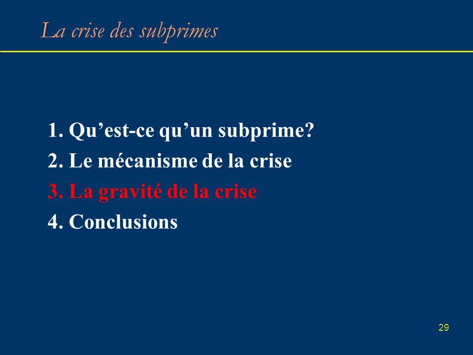 29 La crise des subprimes 1. Quest-ce quun subprime? 2. Le mécanisme de la crise 3. La gravité de la crise 4. Conclusions