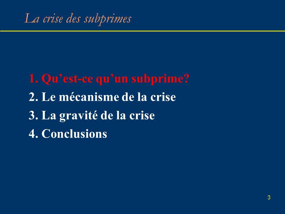 3 La crise des subprimes 1. Quest-ce quun subprime? 2. Le mécanisme de la crise 3. La gravité de la crise 4. Conclusions