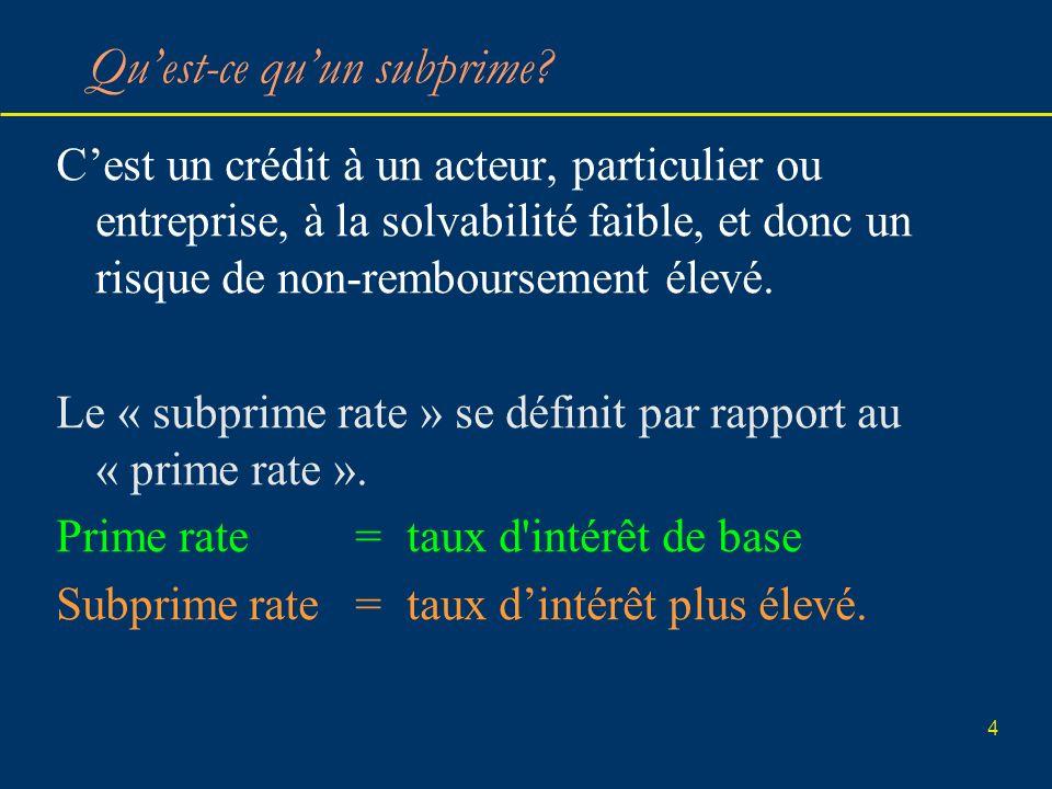 4 Quest-ce quun subprime? Cest un crédit à un acteur, particulier ou entreprise, à la solvabilité faible, et donc un risque de non-remboursement élevé