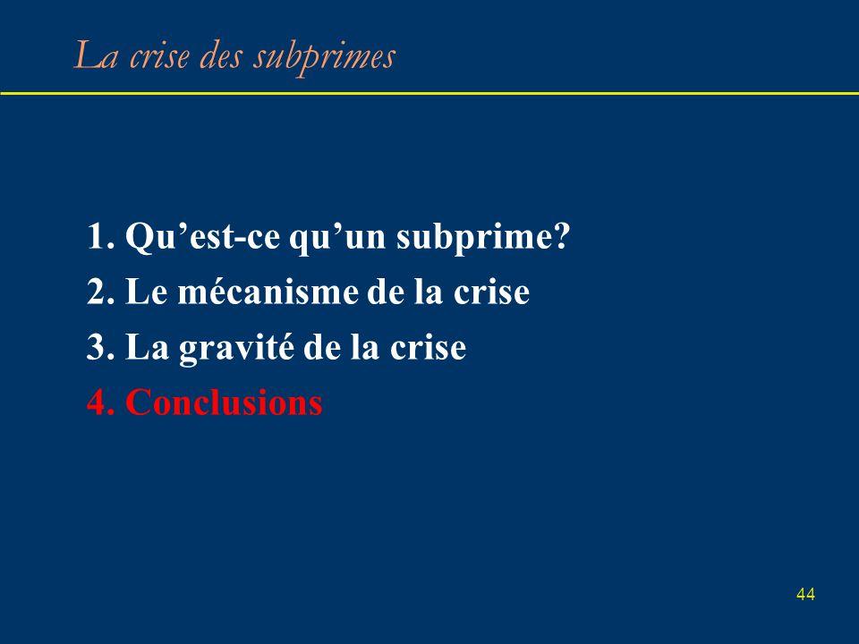 44 La crise des subprimes 1. Quest-ce quun subprime? 2. Le mécanisme de la crise 3. La gravité de la crise 4. Conclusions