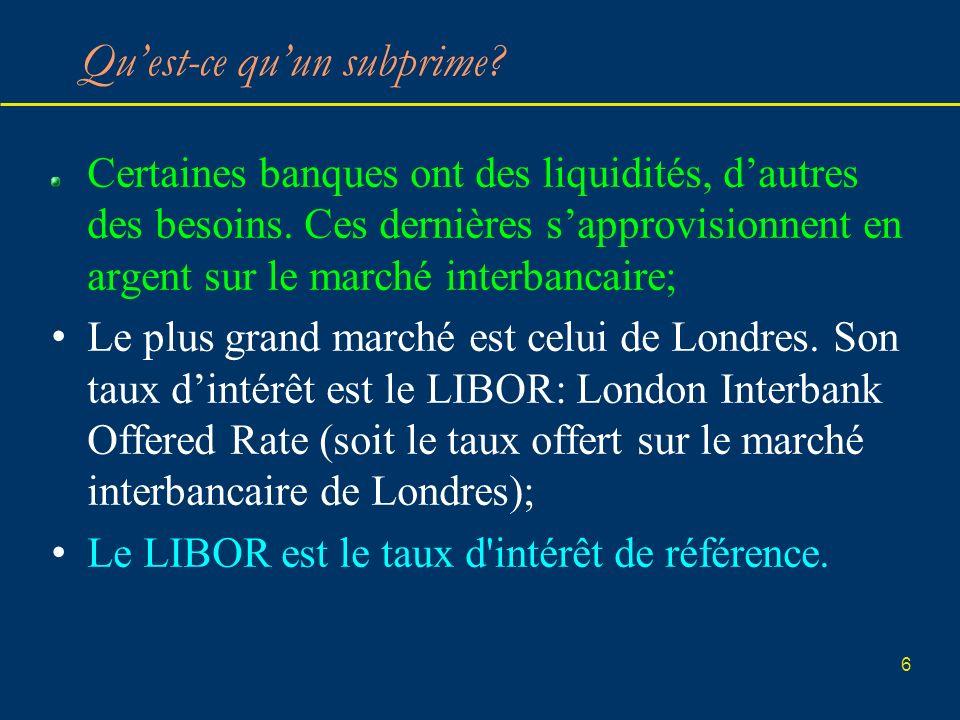 6 Quest-ce quun subprime? Certaines banques ont des liquidités, dautres des besoins. Ces dernières sapprovisionnent en argent sur le marché interbanca