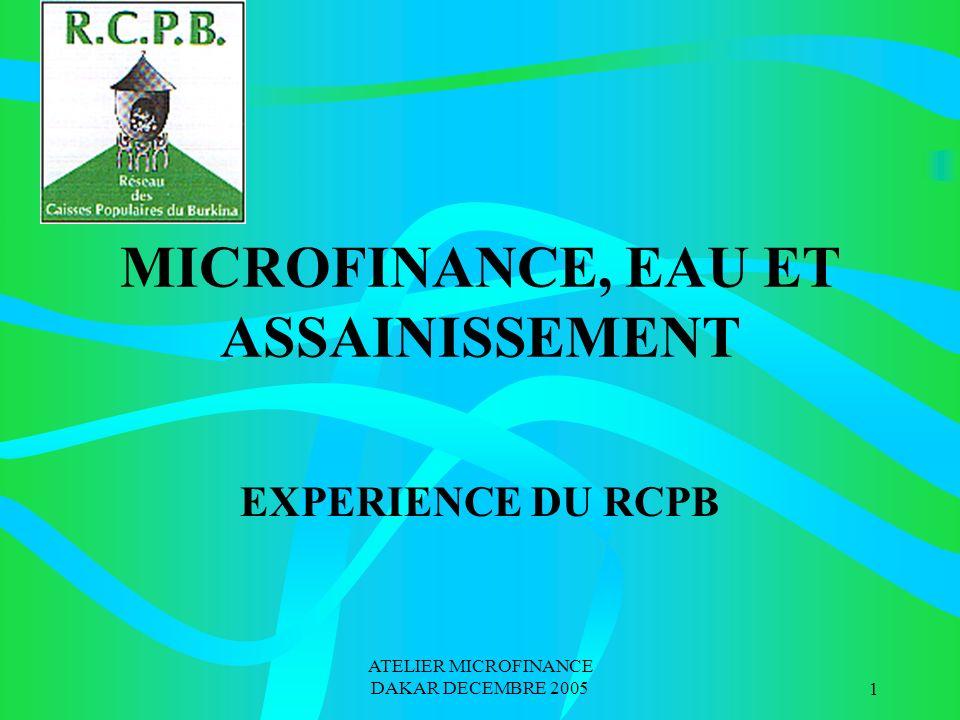 ATELIER MICROFINANCE DAKAR DECEMBRE 20051 MICROFINANCE, EAU ET ASSAINISSEMENT EXPERIENCE DU RCPB