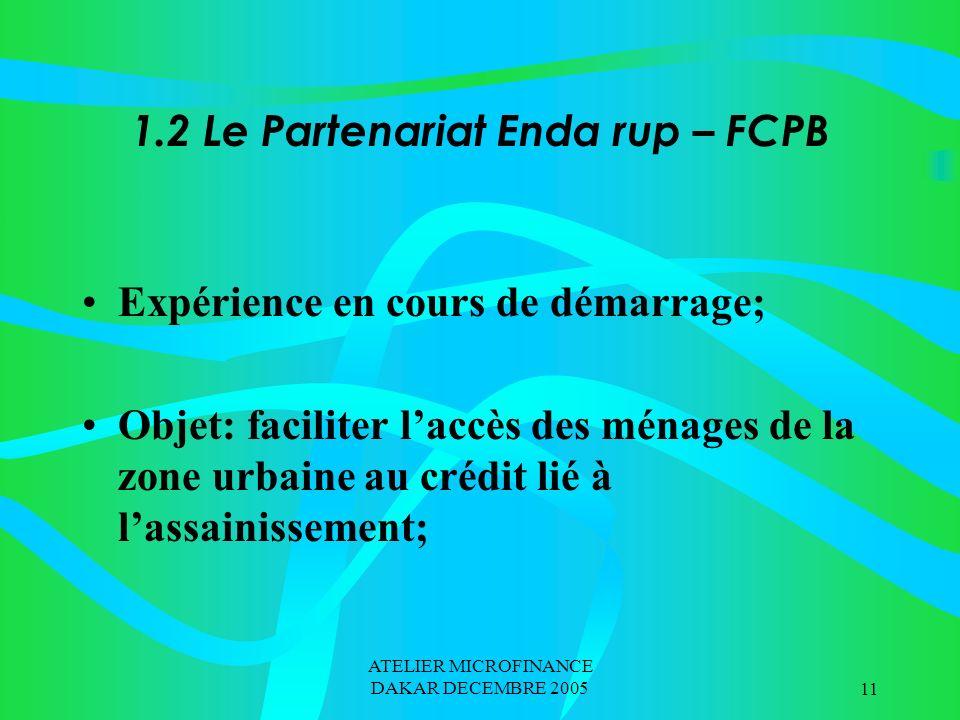 ATELIER MICROFINANCE DAKAR DECEMBRE 200511 1.2 Le Partenariat Enda rup – FCPB Expérience en cours de démarrage; Objet: faciliter laccès des ménages de