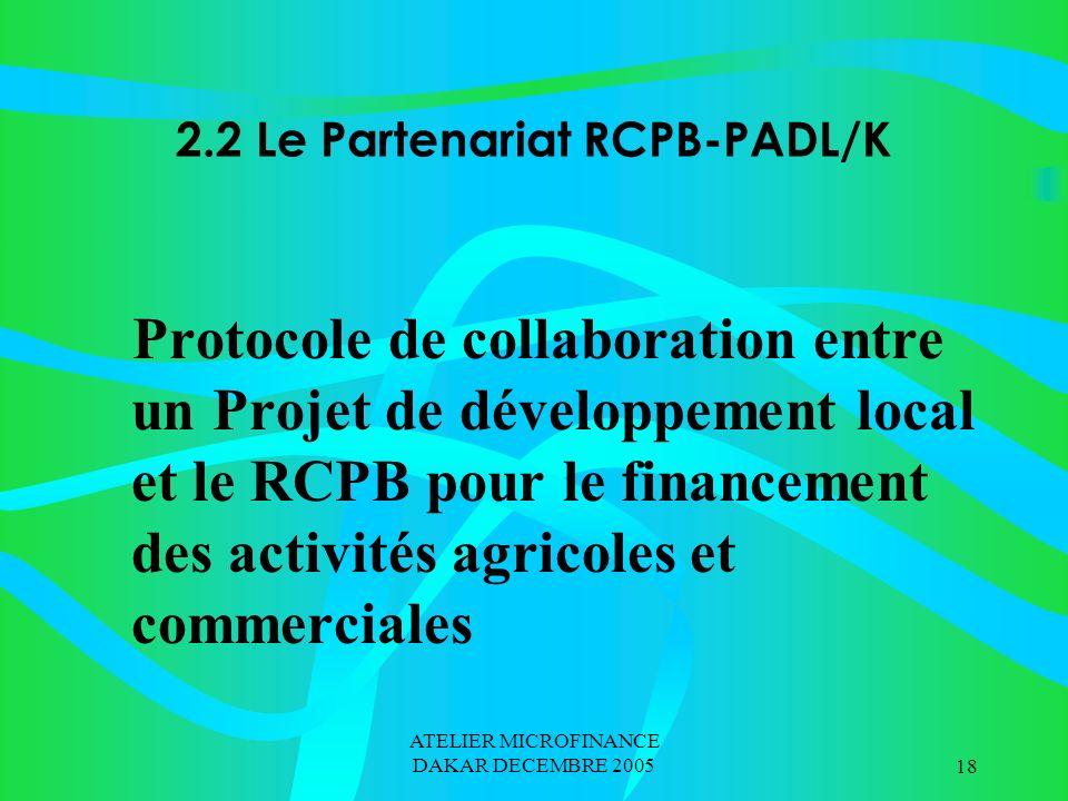 ATELIER MICROFINANCE DAKAR DECEMBRE 200518 2.2 Le Partenariat RCPB-PADL/K Protocole de collaboration entre un Projet de développement local et le RCPB