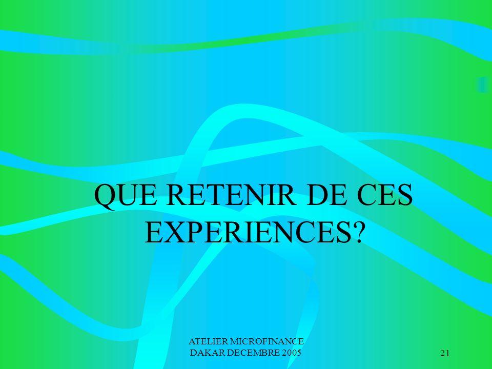 ATELIER MICROFINANCE DAKAR DECEMBRE 200521 QUE RETENIR DE CES EXPERIENCES?