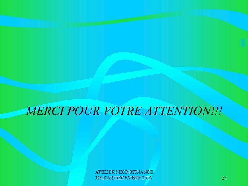 ATELIER MICROFINANCE DAKAR DECEMBRE 200524 MERCI POUR VOTRE ATTENTION!!!