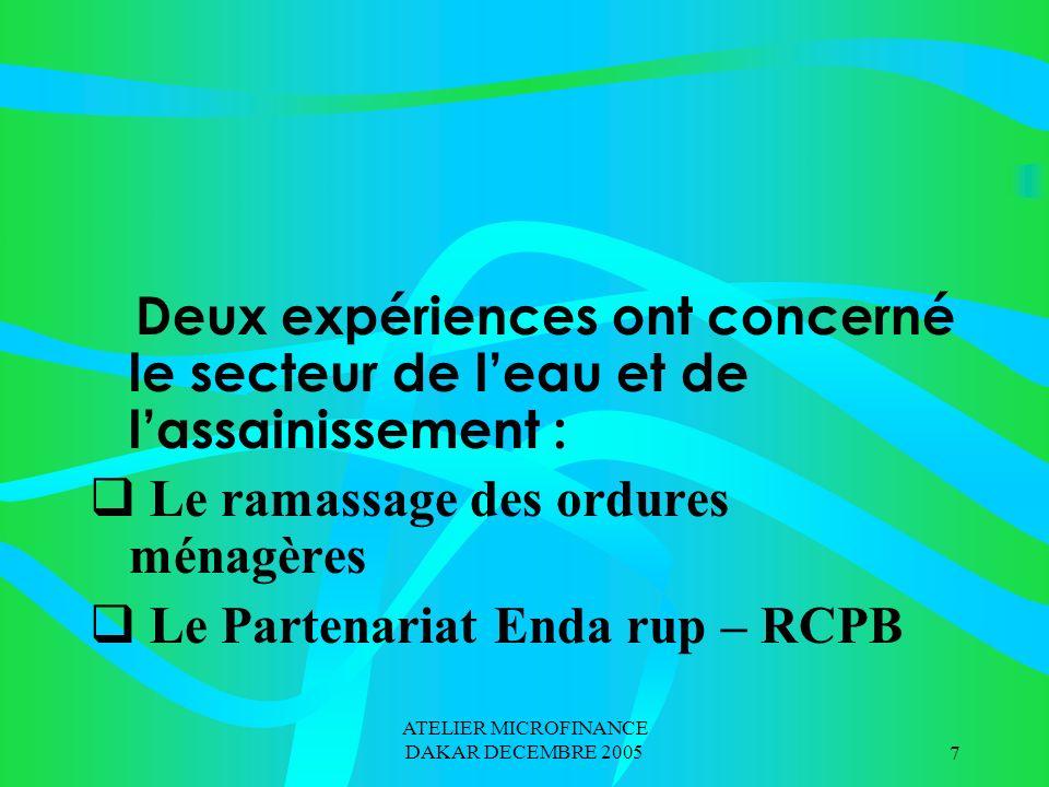 ATELIER MICROFINANCE DAKAR DECEMBRE 200518 2.2 Le Partenariat RCPB-PADL/K Protocole de collaboration entre un Projet de développement local et le RCPB pour le financement des activités agricoles et commerciales