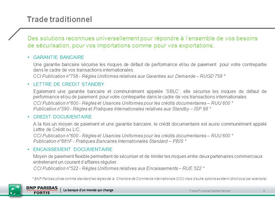 Trade Finance/Valérie Heinen 5 GARANTIE BANCAIRE Une garantie bancaire sécurise les risques de défaut de performance et/ou de paiement pour votre contrepartie dans le cadre de vos transactions internationales.