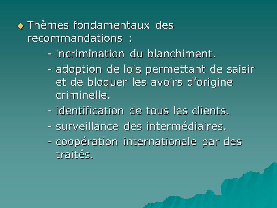 Thèmes fondamentaux des recommandations : Thèmes fondamentaux des recommandations : - incrimination du blanchiment. - incrimination du blanchiment. -