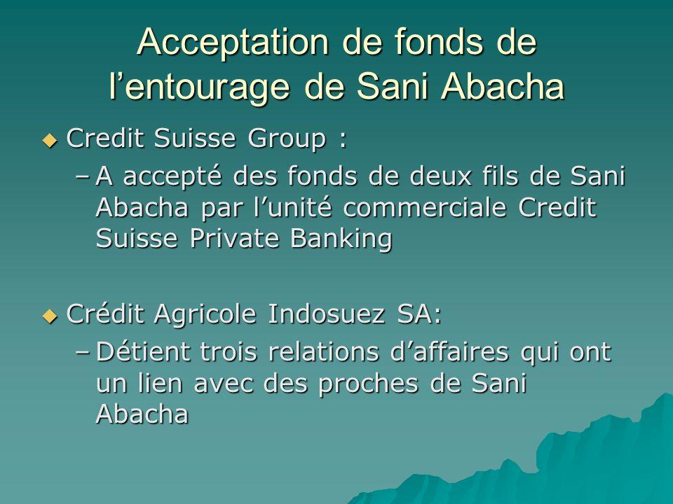 Acceptation de fonds de lentourage de Sani Abacha Credit Suisse Group : Credit Suisse Group : –A accepté des fonds de deux fils de Sani Abacha par lun