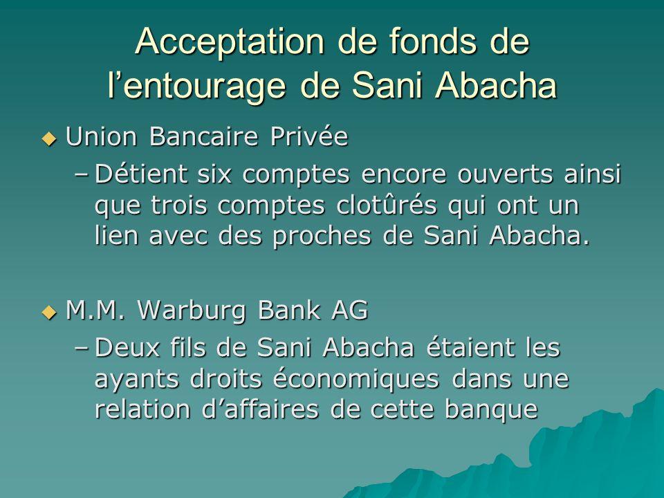 Acceptation de fonds de lentourage de Sani Abacha Union Bancaire Privée Union Bancaire Privée –Détient six comptes encore ouverts ainsi que trois comp