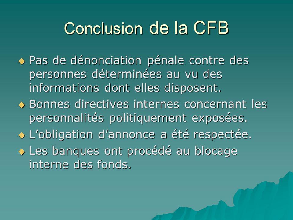Conclusion de la CFB Pas de dénonciation pénale contre des personnes déterminées au vu des informations dont elles disposent. Pas de dénonciation péna
