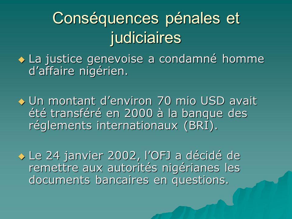 Conséquences pénales et judiciaires La justice genevoise a condamné homme daffaire nigérien. La justice genevoise a condamné homme daffaire nigérien.