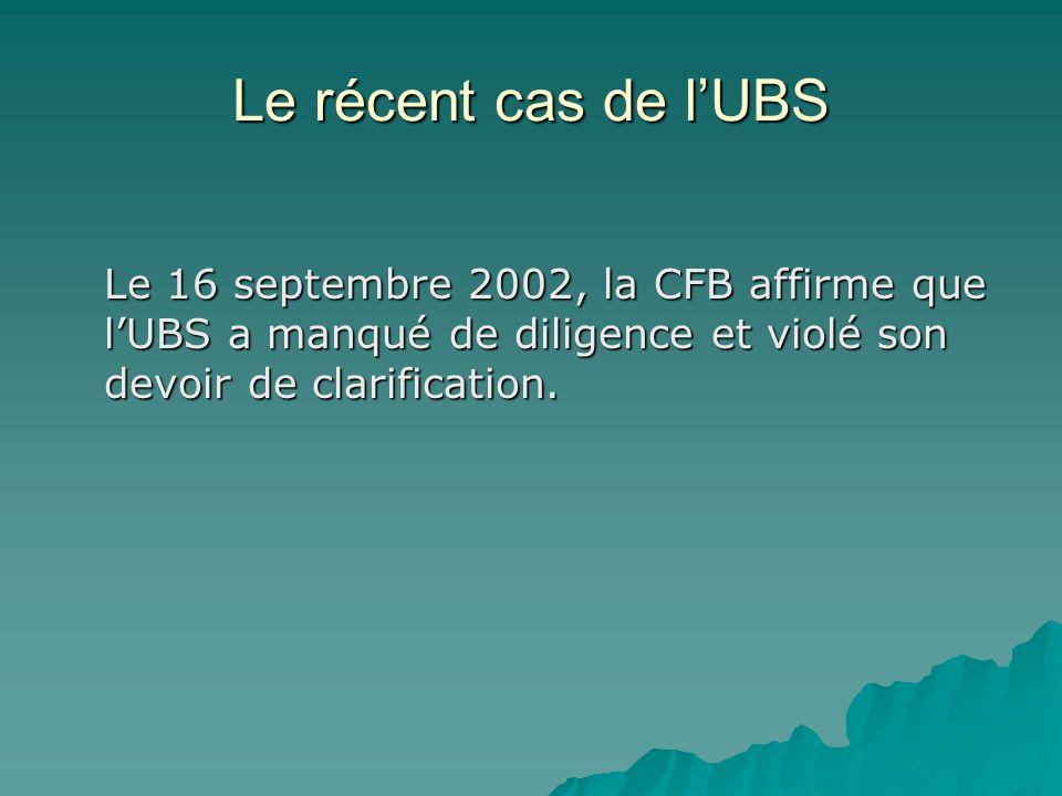 Le récent cas de lUBS Le 16 septembre 2002, la CFB affirme que lUBS a manqué de diligence et violé son devoir de clarification.