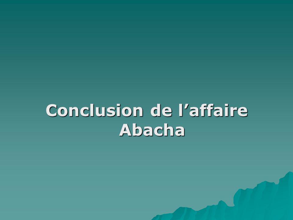 Conclusion de laffaire Abacha