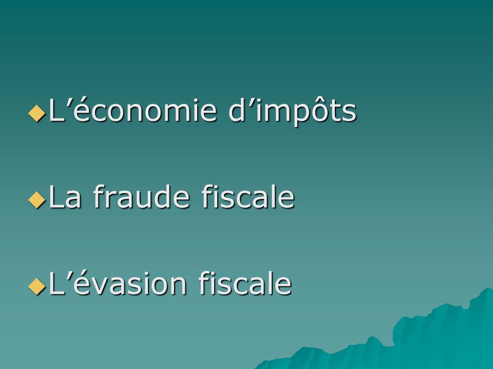 Léconomie dimpôts Léconomie dimpôts La fraude fiscale La fraude fiscale Lévasion fiscale Lévasion fiscale