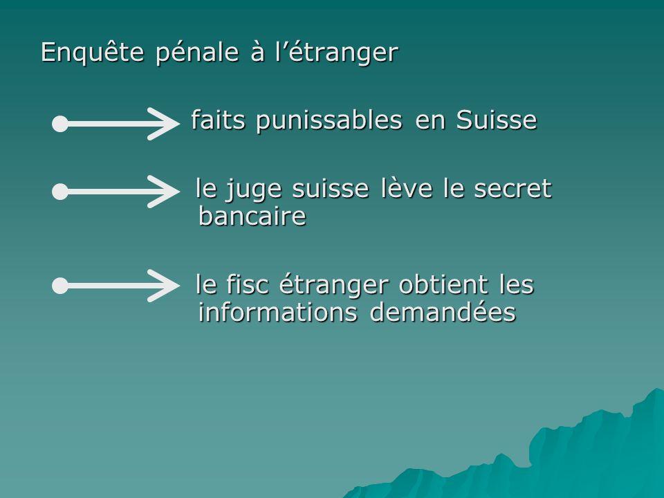 Enquête pénale à létranger faits punissables en Suisse faits punissables en Suisse le juge suisse lève le secret bancaire le juge suisse lève le secre