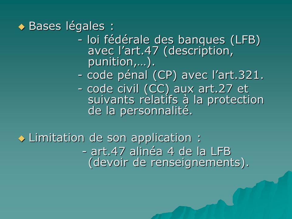 Bases légales : Bases légales : - loi fédérale des banques (LFB) avec lart.47 (description, punition,…). - loi fédérale des banques (LFB) avec lart.47