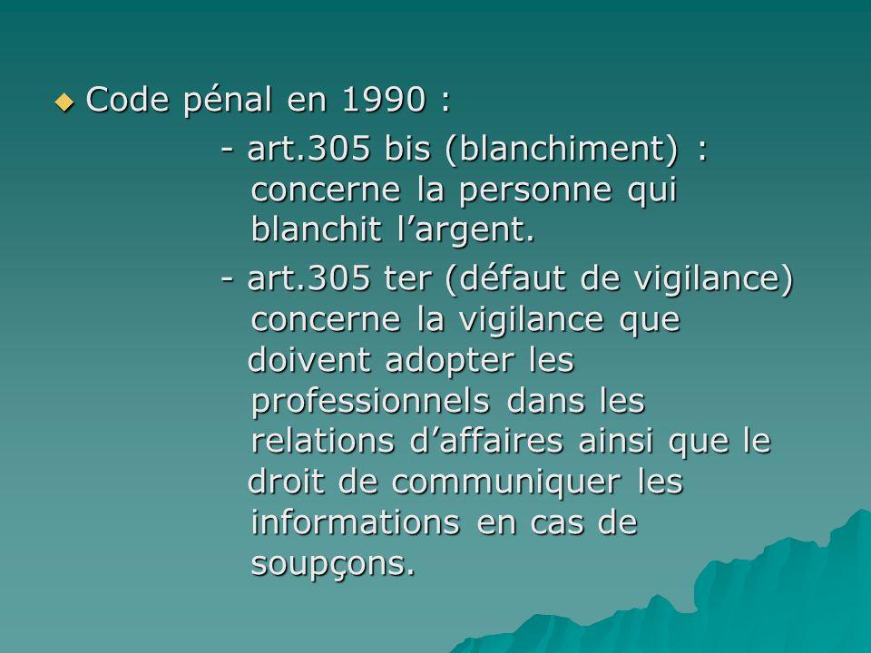 Code pénal en 1990 : Code pénal en 1990 : - art.305 bis (blanchiment) : concerne la personne qui blanchit largent. - art.305 bis (blanchiment) : conce