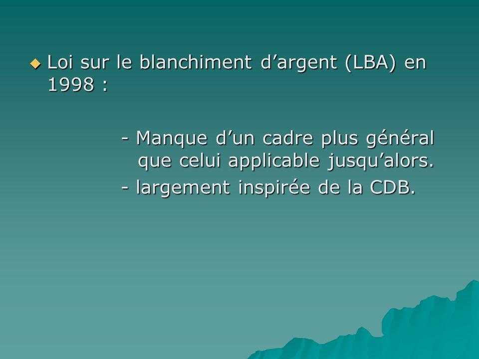 Loi sur le blanchiment dargent (LBA) en 1998 : Loi sur le blanchiment dargent (LBA) en 1998 : - Manque dun cadre plus général que celui applicable jus