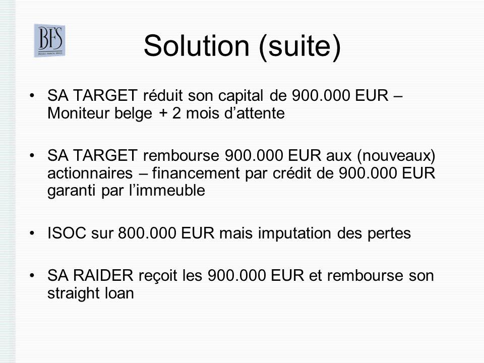 Solution (suite) SA TARGET réduit son capital de 900.000 EUR – Moniteur belge + 2 mois dattente SA TARGET rembourse 900.000 EUR aux (nouveaux) actionnaires – financement par crédit de 900.000 EUR garanti par limmeuble ISOC sur 800.000 EUR mais imputation des pertes SA RAIDER reçoit les 900.000 EUR et rembourse son straight loan