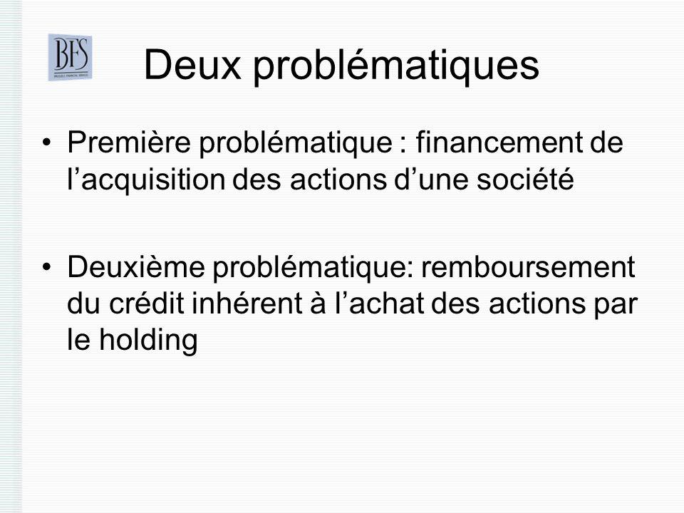 Deux problématiques Première problématique : financement de lacquisition des actions dune société Deuxième problématique: remboursement du crédit inhérent à lachat des actions par le holding