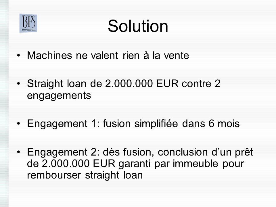 Solution Machines ne valent rien à la vente Straight loan de 2.000.000 EUR contre 2 engagements Engagement 1: fusion simplifiée dans 6 mois Engagement 2: dès fusion, conclusion dun prêt de 2.000.000 EUR garanti par immeuble pour rembourser straight loan