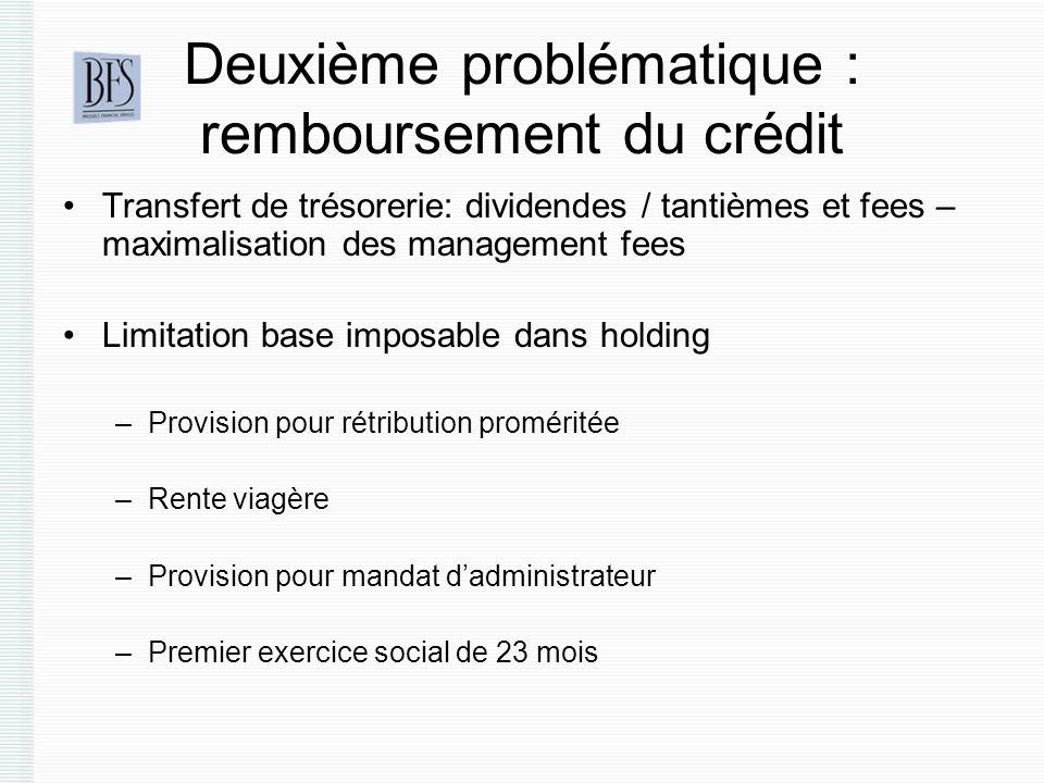 Deuxième problématique : remboursement du crédit Transfert de trésorerie: dividendes / tantièmes et fees – maximalisation des management fees Limitati