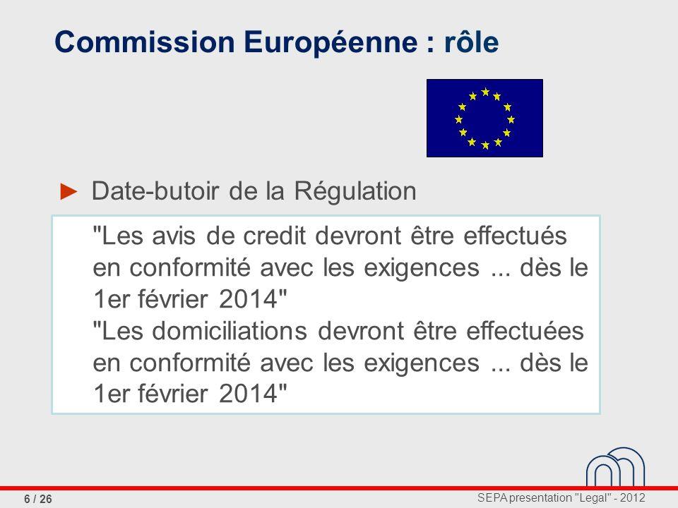 SEPA presentation Legal - 2012 17 / 26 Régulation, article 1 Article 1: Champ d action avis de crédit et domiciliations en au sein de l UE both legs dans l UE ne sont pas concernés: cartes paiements par mobile transferts d argent e-monnaie (e-money)