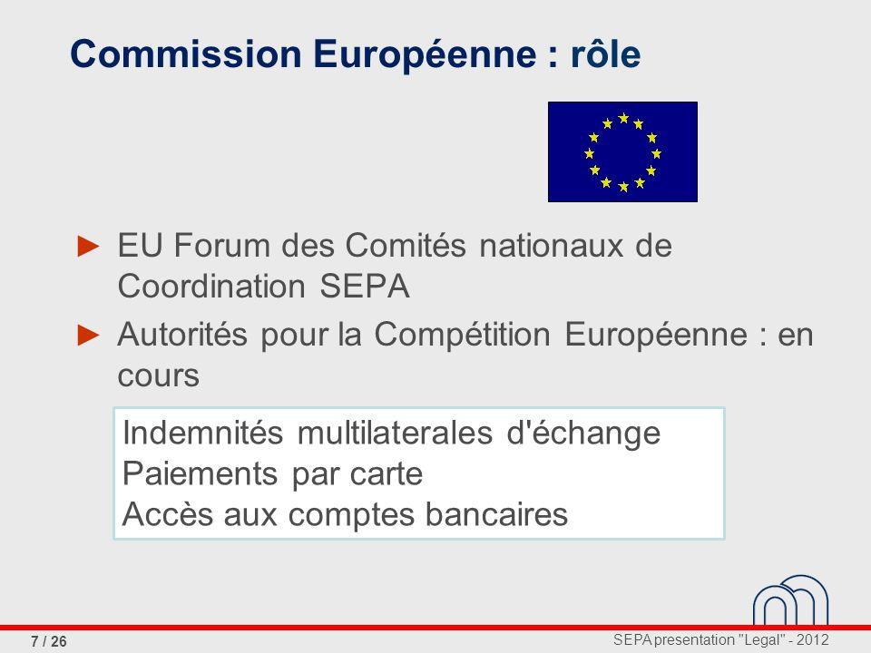 SEPA presentation Legal - 2012 18 / 26 Régulation, article 6 Article 6: Dates-butoir Les avis de credit devront être effectués en conformité avec les exigences...