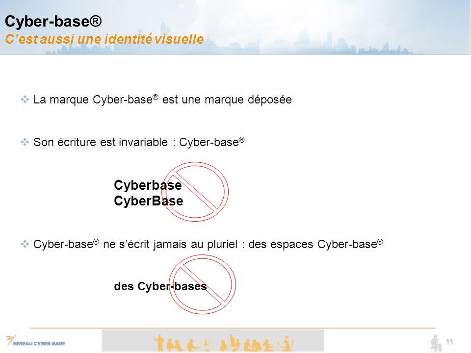11 La marque Cyber-base ® est une marque déposée Son écriture est invariable : Cyber-base ® Cyberbase CyberBase Cyber-base ® ne sécrit jamais au pluriel : des espaces Cyber-base ® des Cyber-bases Cyber-base® Cest aussi une identité visuelle