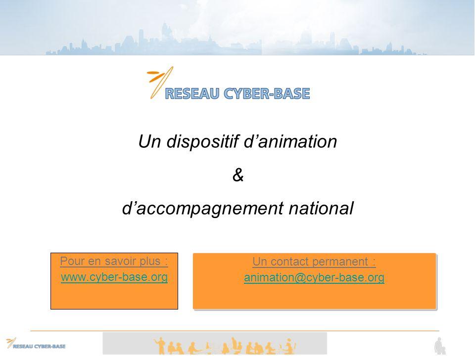 Pour en savoir plus : www.cyber-base.org Un dispositif danimation & daccompagnement national Un contact permanent : animation@cyber-base.org Un contact permanent : animation@cyber-base.org