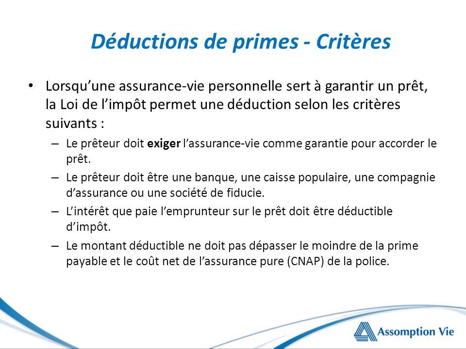 Déductions de primes - Critères Lorsquune assurance-vie personnelle sert à garantir un prêt, la Loi de limpôt permet une déduction selon les critères