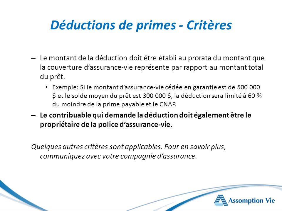 Déductions de primes - Critères – Le montant de la déduction doit être établi au prorata du montant que la couverture dassurance-vie représente par rapport au montant total du prêt.