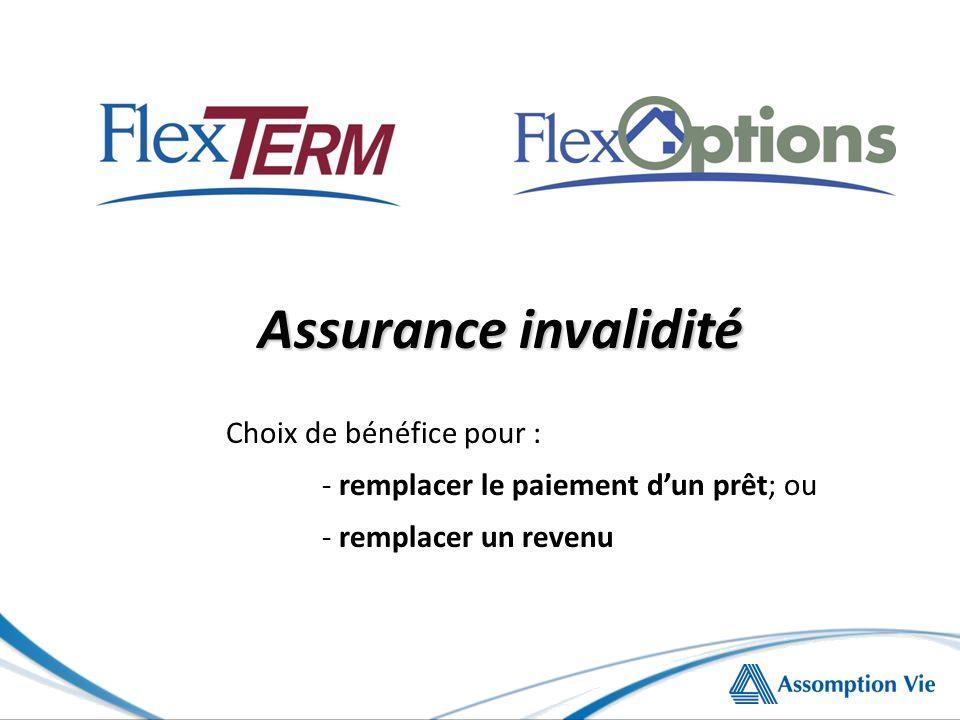 Assurance invalidité Choix de bénéfice pour : - remplacer le paiement dun prêt; ou - remplacer un revenu