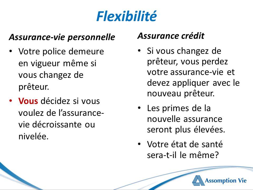 Flexibilité Assurance-vie personnelle Votre police demeure en vigueur même si vous changez de prêteur. Vous décidez si vous voulez de lassurance- vie