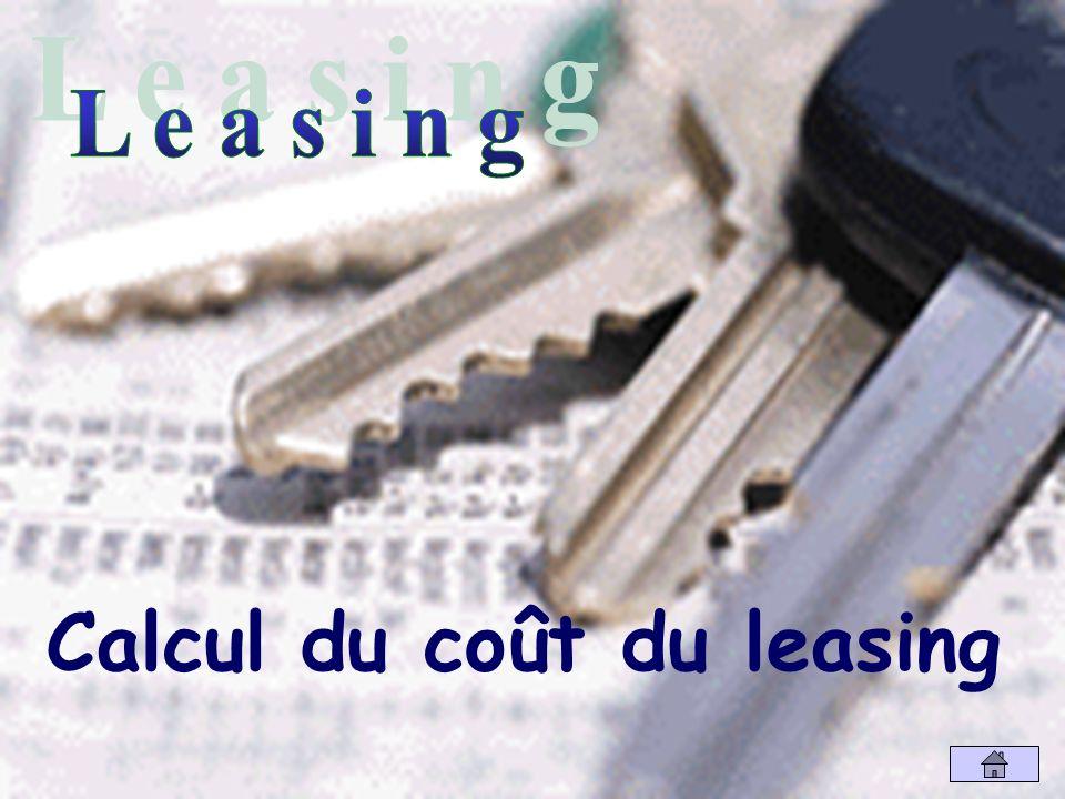 Calcul du coût du leasing