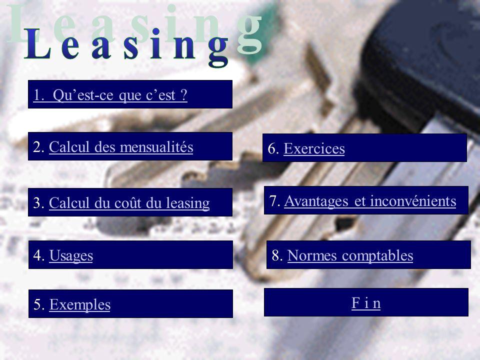 1. Quest-ce que cest ? 2. Calcul des mensualités 7. Avantages et inconvénients 3. Calcul du coût du leasing 5. Exemples 6. Exercices F i n 4. Usages8.