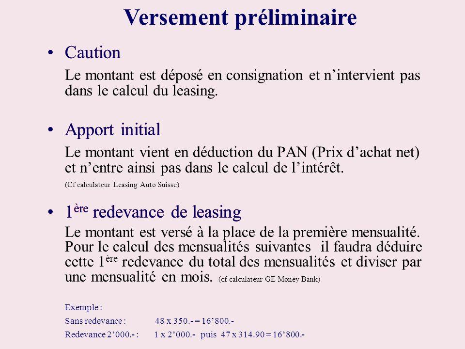 Caution Le montant est déposé en consignation et nintervient pas dans le calcul du leasing. Apport initial Le montant vient en déduction du PAN (Prix