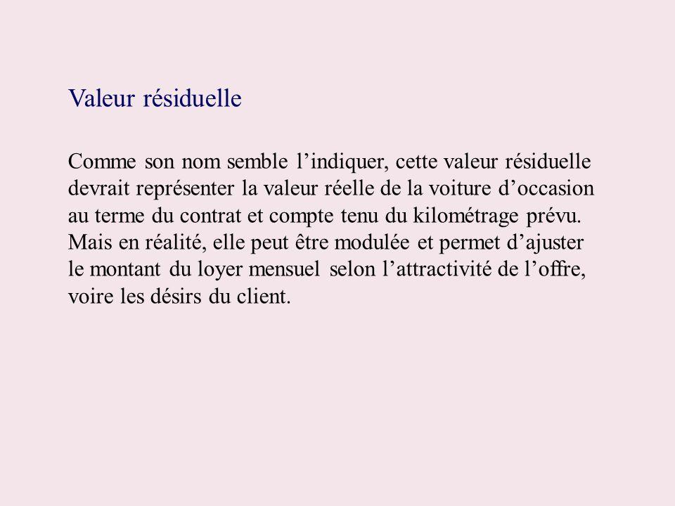 Valeur résiduelle Comme son nom semble lindiquer, cette valeur résiduelle devrait représenter la valeur réelle de la voiture doccasion au terme du con