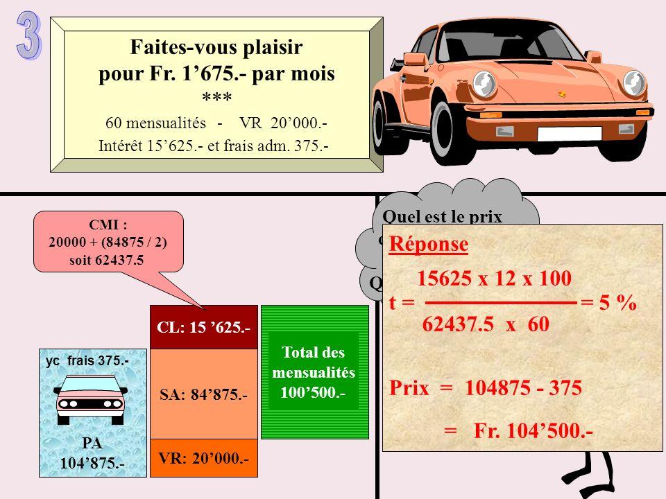 SA: 84875.- VR: 20000.- CL: 15 625.- Total des mensualités 100500.- CMI : 20000 + (84875 / 2) soit 62437.5 Faites-vous plaisir pour Fr. 1675.- par moi