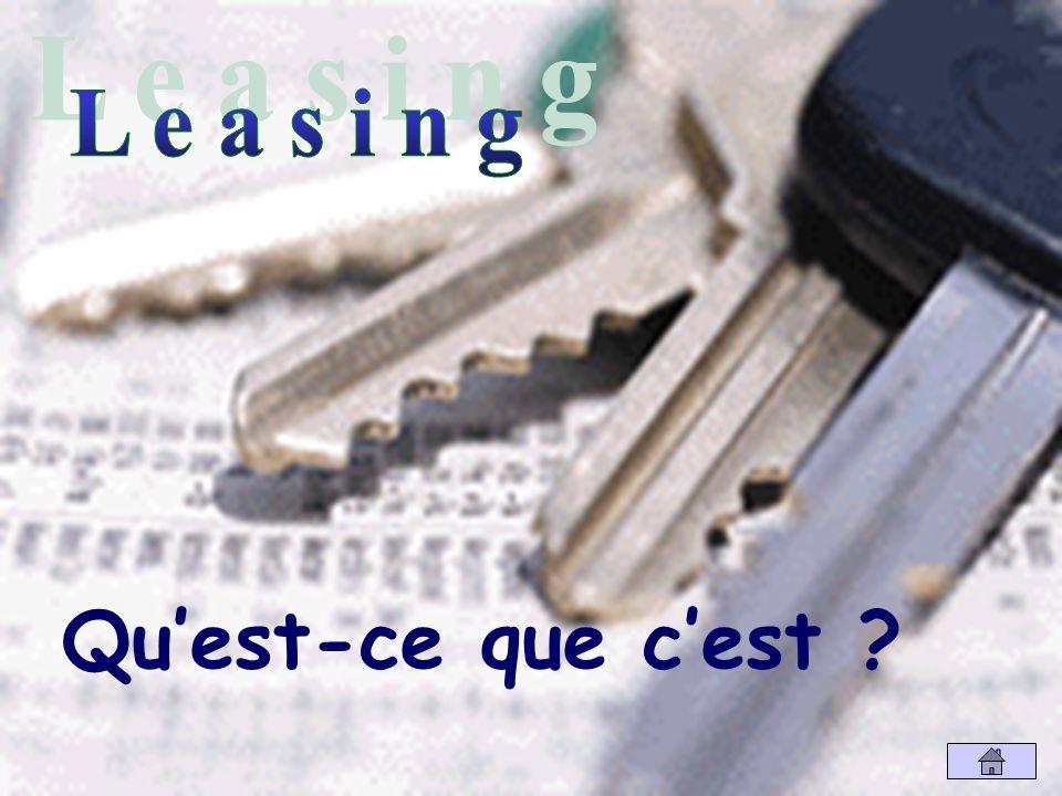 Définition Le leasing est une location pour une longue durée généralement assortie dune possibilité dachat en fin de contrat.