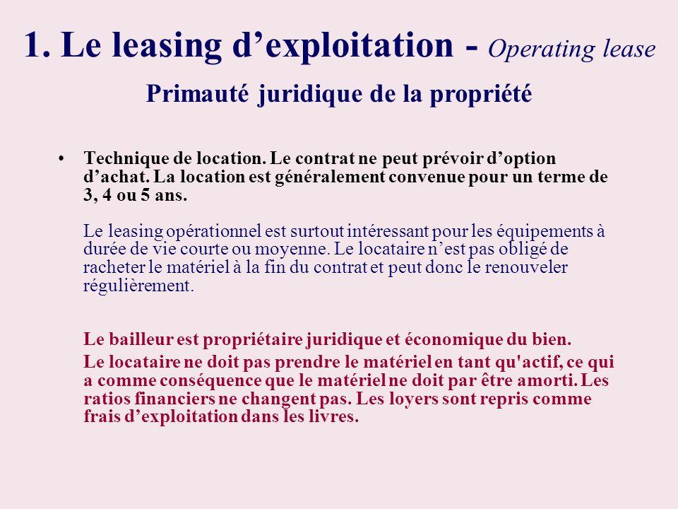 1. Le leasing dexploitation - Operating lease Technique de location. Le contrat ne peut prévoir doption dachat. La location est généralement convenue